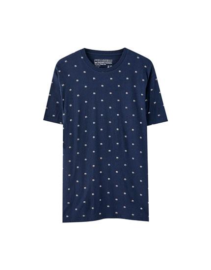 T-shirt com microestampado em navy