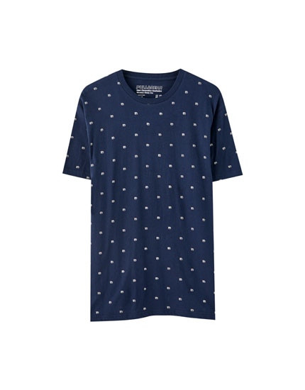 Camiseta microestampado navy