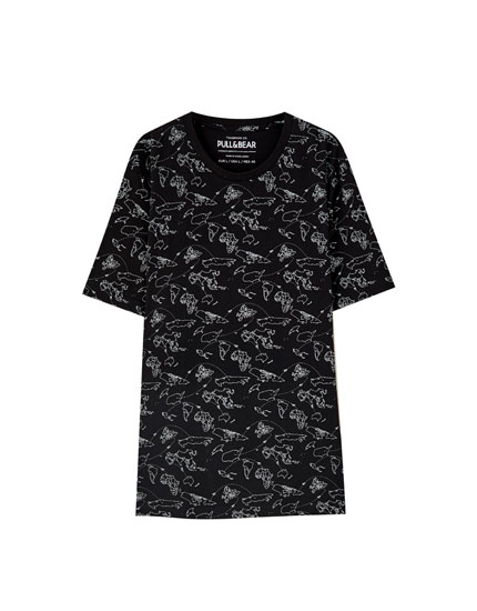 Black T-shirt with map print