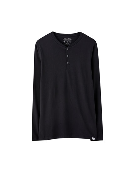 Long sleeve henley T-shirt