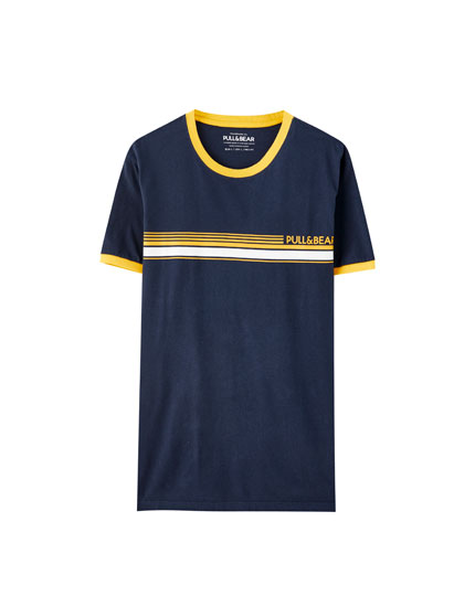 T-shirt with stripe and logo