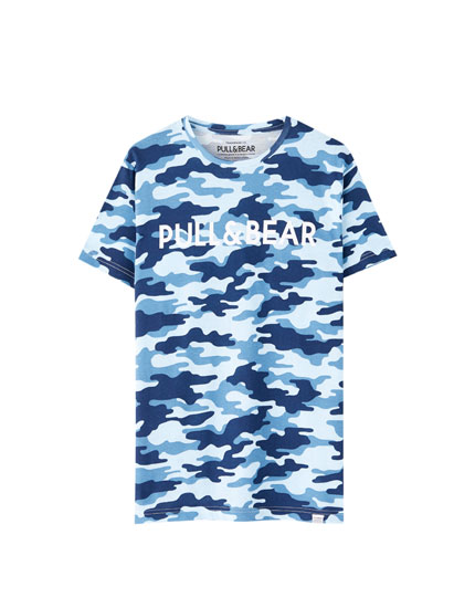 T-shirt com logótipo da Pull&Bear colorido