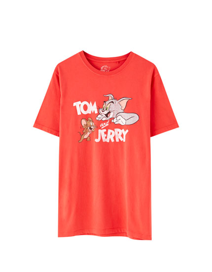 Camiseta Tom & Jerry vermella