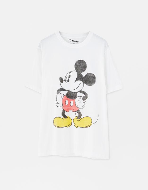 7195e690 PullAndBear - basic mickey mouse t-shirt - white - 05246545-I2019