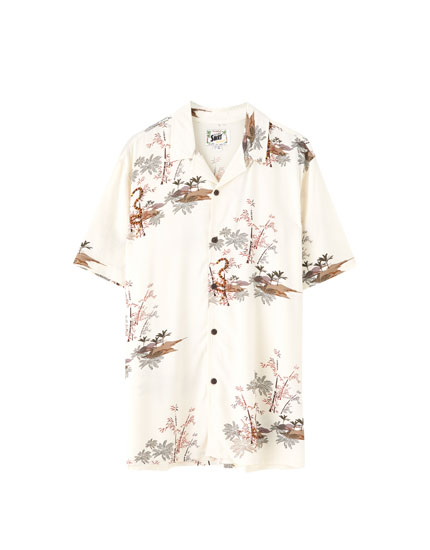 Camisa viscosa estampado japonés
