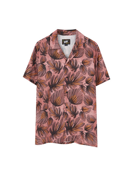 Viscose feather print shirt