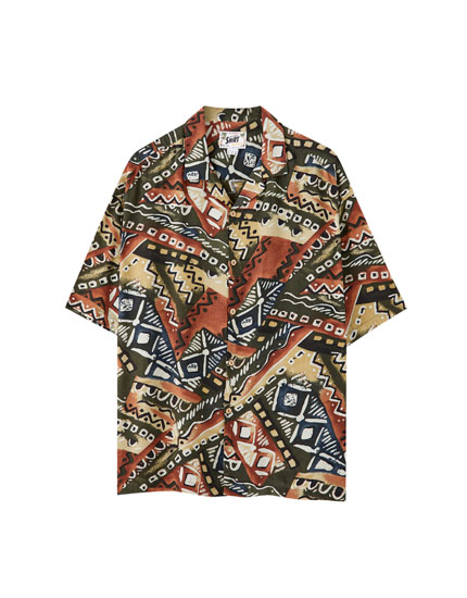 Embellished print viscose shirt