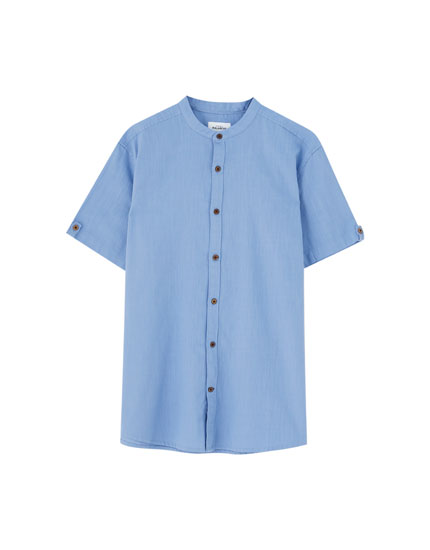 Coloured stand-up collar shirt