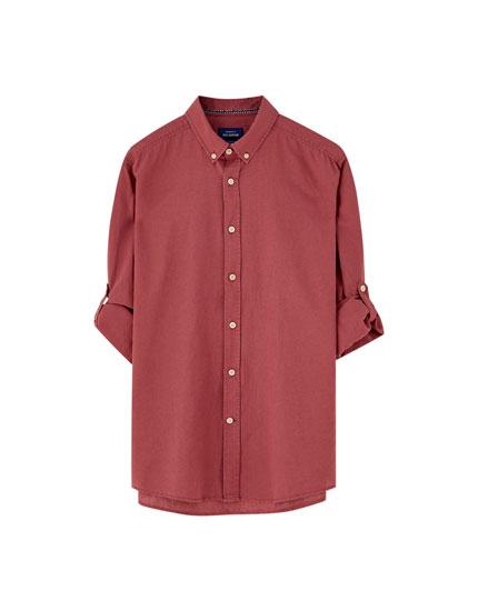 Camisa básica de linho de manga comprida