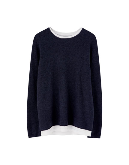 Knit sweater with lining and collar