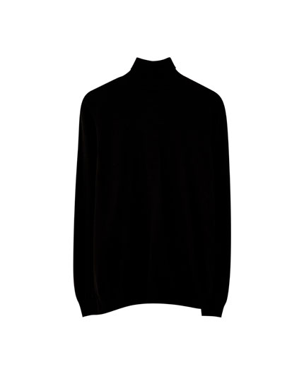 Viscose high neck knit sweater