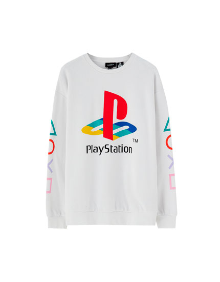 White PlayStation sweatshirt