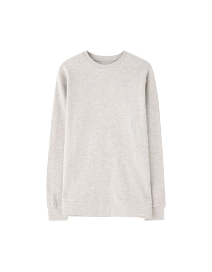Faded-effect piqué sweatshirt