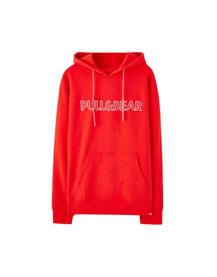 Φούτερ με κουκούλα και λογότυπο Pull&Bear