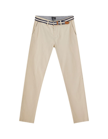 Coloured chino trousers with belt