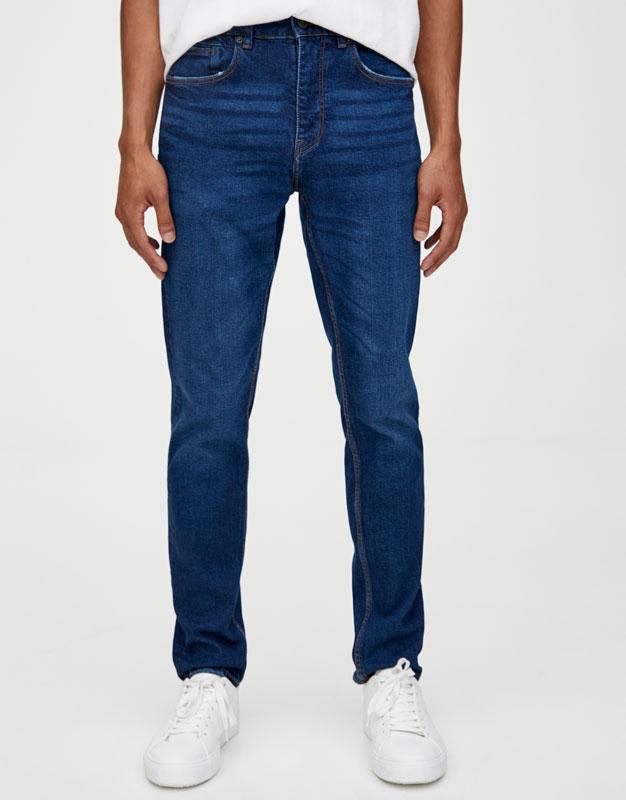 0eecee0349f061 PullAndBear - dark blue slim comfort fit jeans - blue - 05683506-I2019