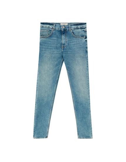 2b74414838 Τζιν παντελόνι skinny fit σε φθαρμένο μπλε