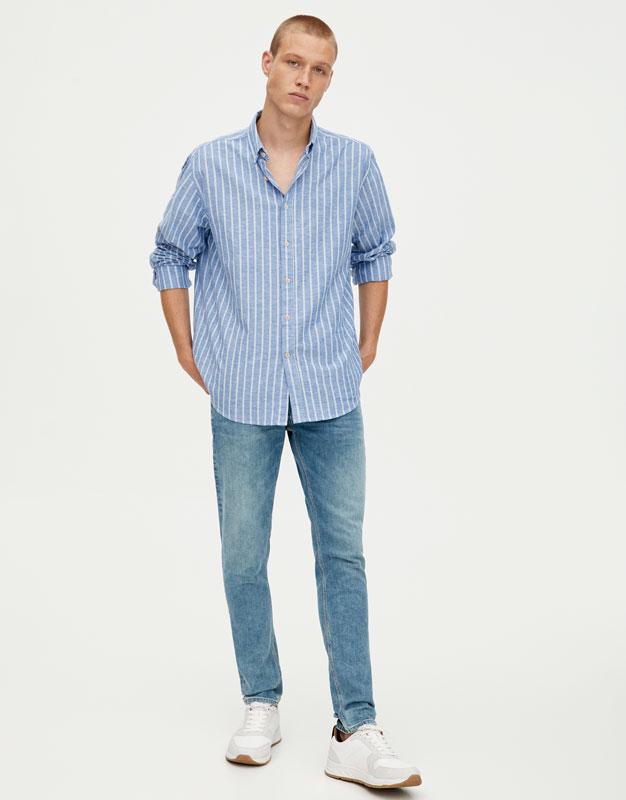 d08c8b27be3f23 PullAndBear - niebieskie jeansy skinny fit z efektem zużycia -  zielonkawoniebieski - 05683555-I2019