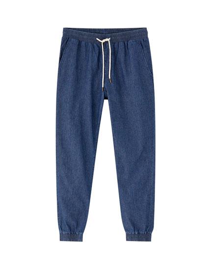 Drawstring denim beach trousers