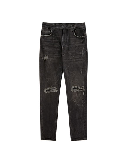 Premium black carrot fit jeans