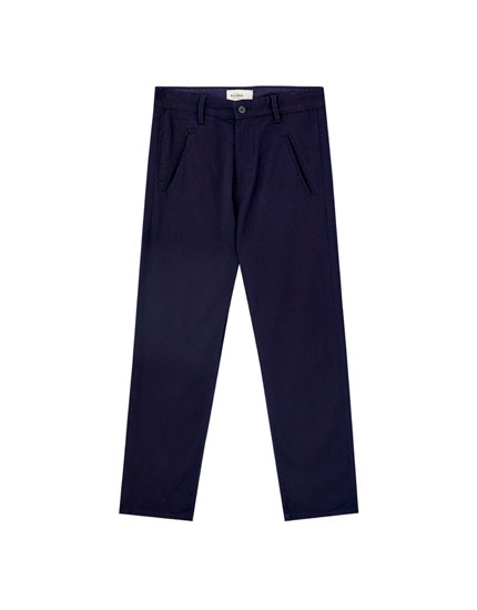 Blue denim chino trousers