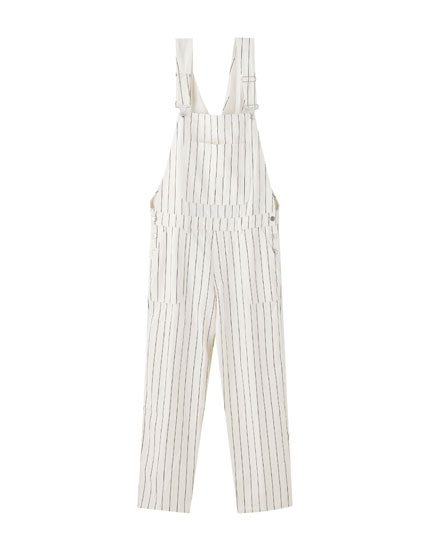 Striped white dungarees