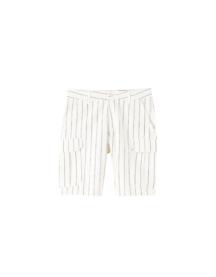 Striped cargo Bermuda shorts