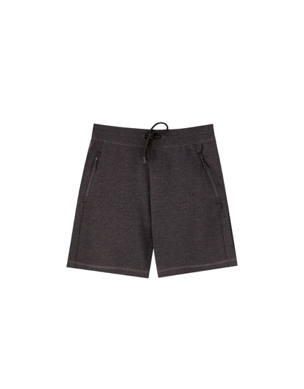 Technical jogging-style Bermuda shorts