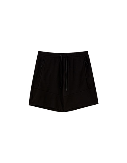 Basic piqué Bermuda jogging shorts