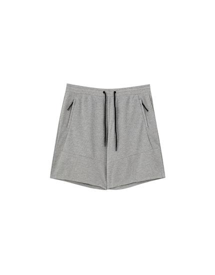 Basic piqué Bermuda jogging shorts