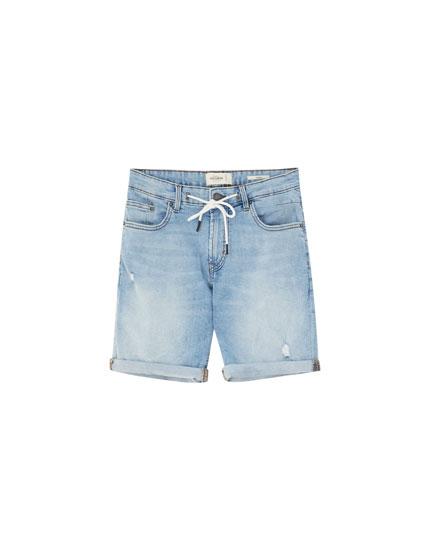 Skinny-fit denim Bermuda shorts