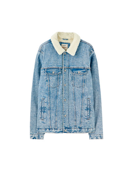 Blue denim jacket with faux shearling