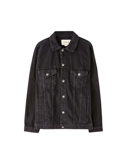 Denim jacket with drop shoulders
