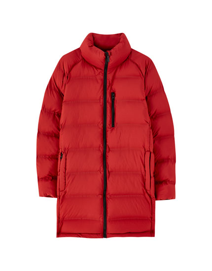 Puffer coat with invisible seams