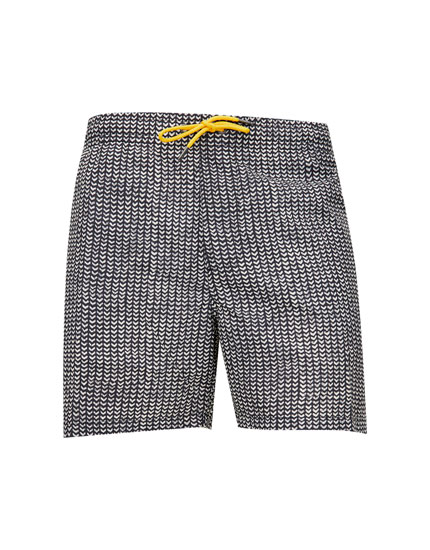 Herringbone print swim trunks