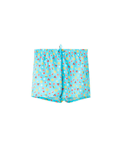 Blue ice cream print swimming trunks