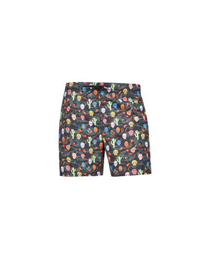 Multicoloured skull print swimming trunks