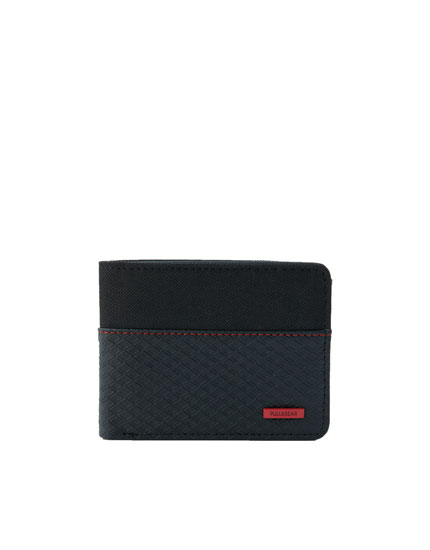 Embossed wallet with red topstitching