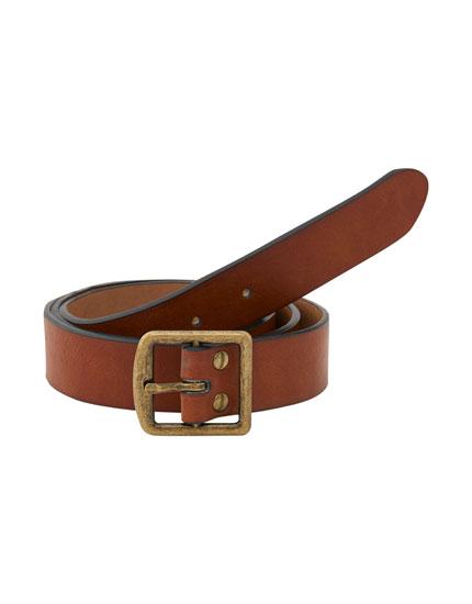 Cinturón hebilla cuadrada marrón