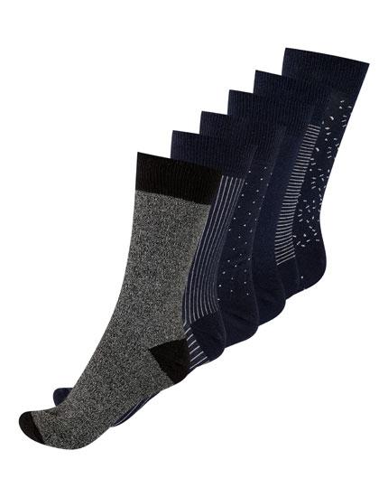 5-pack of long blue socks