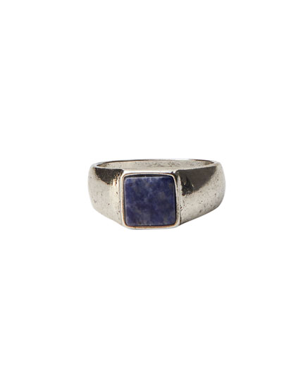 Blue stone signet ring