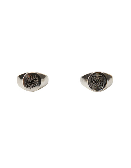 Pack of 2 raised signet rings
