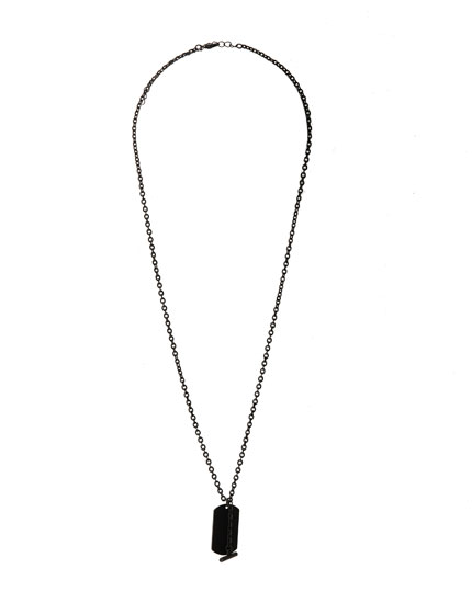 Black tag pendant necklace