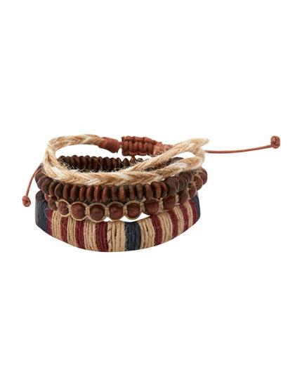 Pack 4 pulseras cordón y cuentas