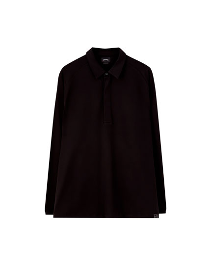 Oversized long sleeve polo shirt