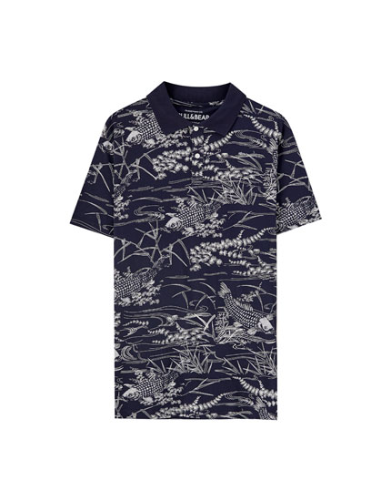 Polo shirt with fish print