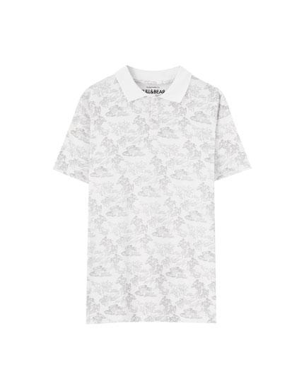 Polo shirt with tree print