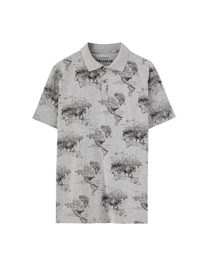 Grey polo shirt with map print