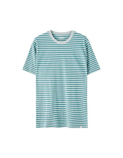 Fine stripe print T-shirt