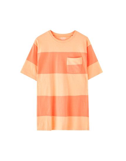Thick stripe print T-shirt